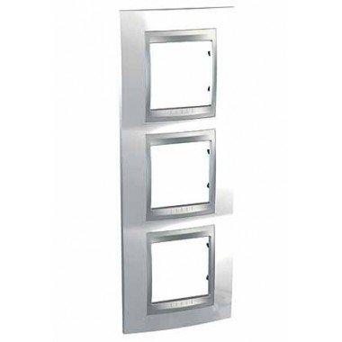 Рамка 3-постовая вертикальная Schneider Electric Unica ТОР, белоснежный/алюминий - описание, характеристики, отзывы