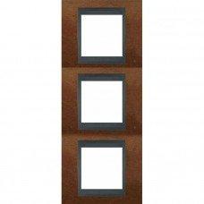 Рамка 3-постовая вертикальная Schneider Electric Unica ТОР, черешня/графит