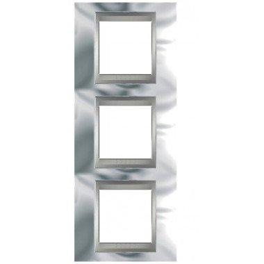 Рамка 3-постовая вертикальная Schneider Electric Unica ТОР, хром глянцевый/алюминий - описание, характеристики, отзывы