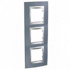 Рамка 3-постовая вертикальная Schneider Electric Unica ТОР, металлик/алюминий