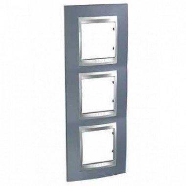Рамка 3-постовая вертикальная Schneider Electric Unica ТОР, металлик/алюминий - описание, характеристики, отзывы