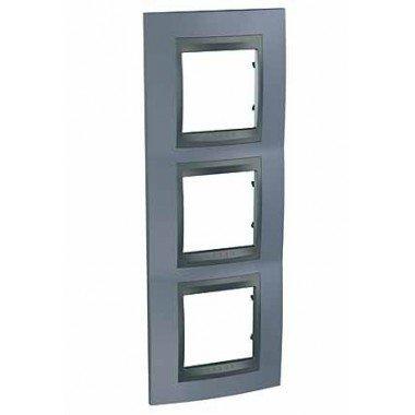 Рамка 3-постовая вертикальная Schneider Electric Unica ТОР, металлик/графит - описание, характеристики, отзывы