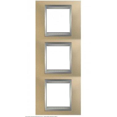 Рамка 3-постовая вертикальная Schneider Electric Unica ТОР, оникс медный/алюминий - описание, характеристики, отзывы