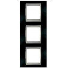 Рамка 3-постовая вертикальная Schneider Electric Unica ТОР, родий/алюминий