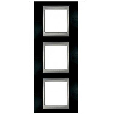 Рамка 3-постовая вертикальная Schneider Electric Unica ТОР, родий/алюминий - описание, характеристики, отзывы