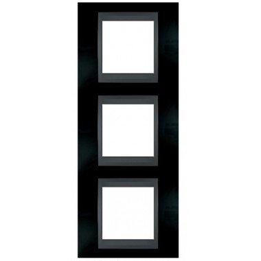 Рамка 3-постовая вертикальная Schneider Electric Unica ТОР, родий/графит - описание, характеристики, отзывы