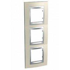 Рамка 3-постовая вертикальная Schneider Electric Unica ТОР, титан/алюминий
