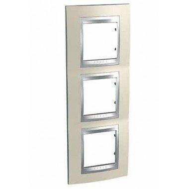 Рамка 3-постовая вертикальная Schneider Electric Unica ТОР, титан/алюминий - описание, характеристики, отзывы