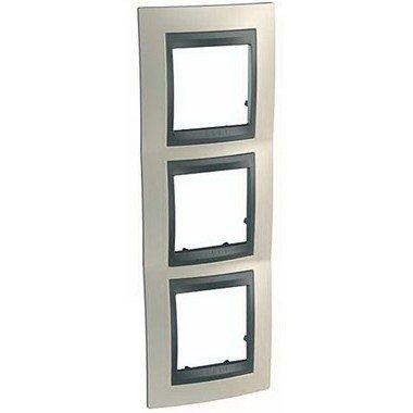 Рамка 3-постовая вертикальная Schneider Electric Unica ТОР, титан/графит - описание, характеристики, отзывы
