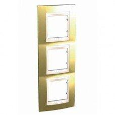 Рамка 3-постовая вертикальная Schneider Electric Unica ТОР, золото/слоновая кость