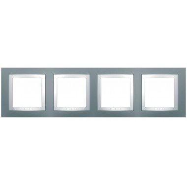 """Рамка 4-постовая Schneider Electric Unica  Basic, серый """"техно"""" - описание, характеристики, отзывы"""