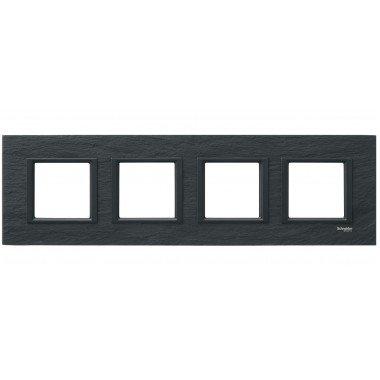 Рамка 4-постовая горизонтальная  Schneider Electric Unica CLASS, черный камень (иберийский сланец) - описание, характеристики, отзывы