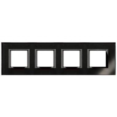 Рамка 4-постовая горизонтальная  Schneider Electric Unica CLASS, черное стекло - описание, характеристики, отзывы