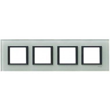 Рамка 4-постовая горизонтальная  Schneider Electric Unica CLASS, матовое стекло - описание, характеристики, отзывы