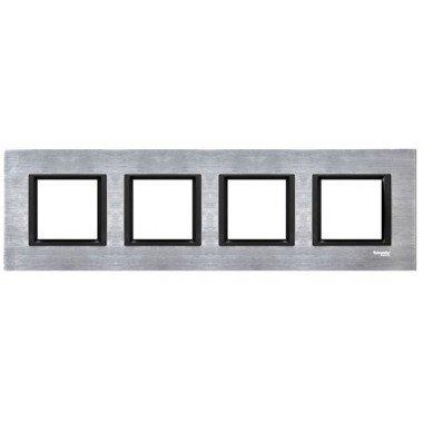 Рамка 4-постовая горизонтальная  Schneider Electric Unica CLASS, серебристый алюминий - описание, характеристики, отзывы
