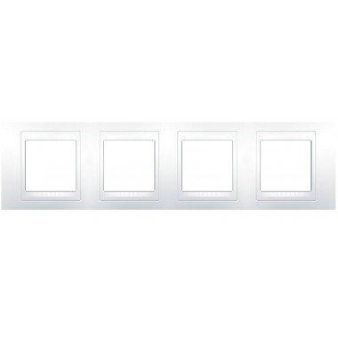 Рамка 4-постовая горизонтальная Schneider Electric Unica Plus, белый/белый - описание, характеристики, отзывы