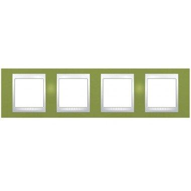 Рамка 4-постовая горизонтальная Schneider Electric Unica Plus, фисташковый/слоновая кость - описание, характеристики, отзывы