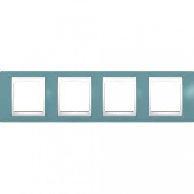 Рамка 4-постовая горизонтальная Schneider Electric Unica Plus, синий/белый - описание, характеристики, отзывы