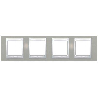Рамка 4-постовая горизонтальная Schneider Electric Unica Plus, туманно-серый/белый - описание, характеристики, отзывы