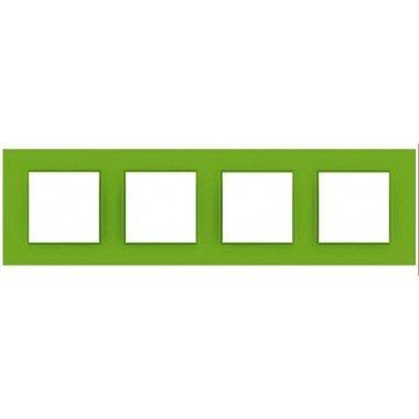 """Рамка 4-постовая  Schneider Electric Unica Quadro,  """"Bio"""" (зелёный) - описание, характеристики, отзывы"""