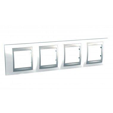 Рамка 4-постовая  Schneider Electric Unica ТОР, белоснежный/алюминий - описание, характеристики, отзывы