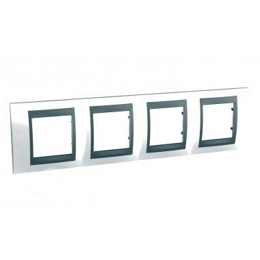 Рамка 4-постовая  Schneider Electric Unica ТОР, белоснежный/графит - описание, характеристики, отзывы