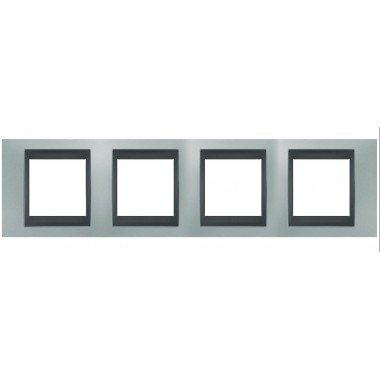 Рамка 4-постовая  Schneider Electric Unica ТОР, изумрудный/графит - описание, характеристики, отзывы