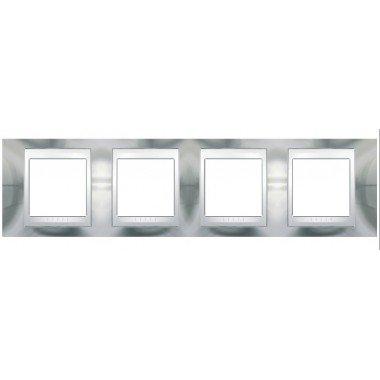 Рамка 4-постовая  Schneider Electric Unica ТОР, хром глянцевый/белый - описание, характеристики, отзывы
