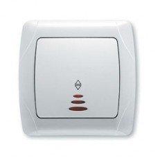 Выключатель 1-клавишный проходной с подсветкой ViKO Carmen, белый