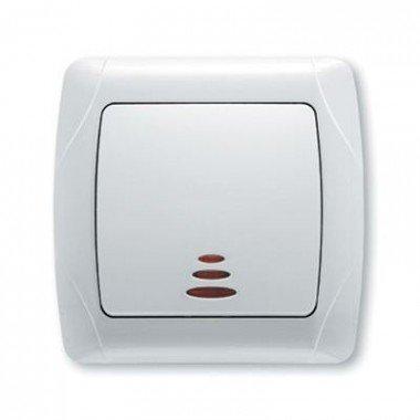 Выключатель 1-клавишный с подсветкой ViKO Carmen, белый - описание, характеристики, отзывы