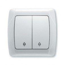 Выключатель 2-клавишный проходной ViKO Carmen, белый
