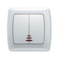 Выключатель 2-клавишный с подсветкой ViKO Carmen, белый