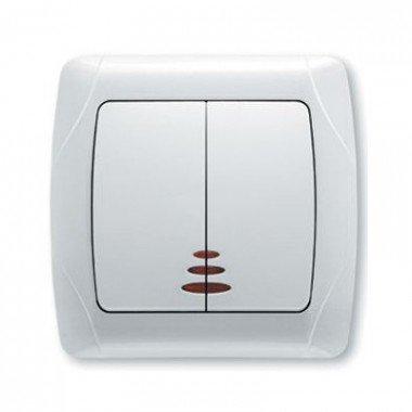 Выключатель 2-клавишный с подсветкой ViKO Carmen, белый - описание, характеристики, отзывы