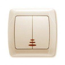 Выключатель 2-клавишный с подсветкой ViKO Carmen, крем