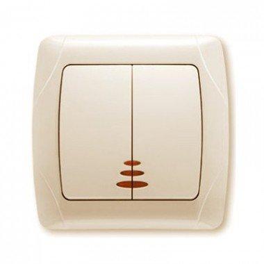 Выключатель 2-клавишный с подсветкой ViKO Carmen, крем - описание, характеристики, отзывы