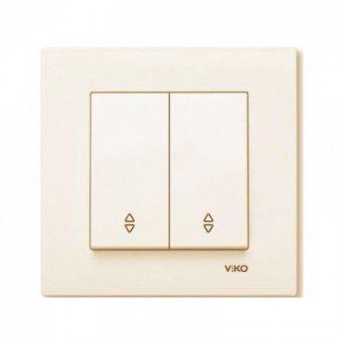 Выключатель 2-клавишный проходной ViKO Karre, крем - описание, характеристики, отзывы