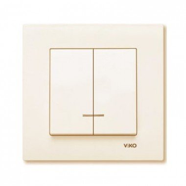 Выключатель 2-клавишный с подсветкой ViKO Karre, крем - описание, характеристики, отзывы