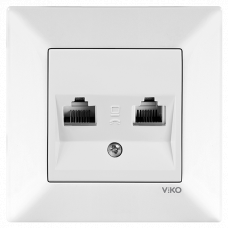 Розетка компьютерная + розетка tf (телефон) белая VI-KO MERIDIAN