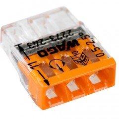 Клемма COMPACT для распределительных коробок 3х2,5, прозрачная/оранжевая, с пастой (WAGO)