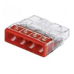 Клемма COMPACT для распределительных коробок 4х2,5, прозрачная/красная, с пастой (WAGO)