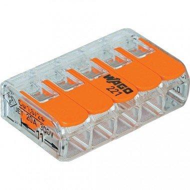 Клемма 5-контактная для распределительных коробок, подключения светильников 0,08-2,5мм² прозрачная (WAGO) - описание, характеристики, отзывы