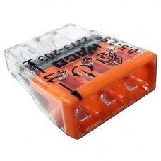 Клемма COMPACT для распределительный коробок 3х2,5, прозрачный/оранжевый, без пасты, WAGO
