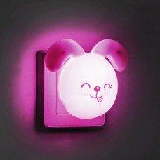 """Светильник ночной FN1167 """"зайчик ушки вниз"""" розовый , с выключателем"""