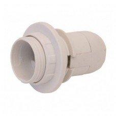 Патрон пластиковый e.lamp E27 с гайкой белый