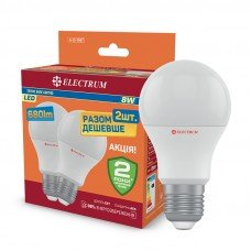 Лампа  светодиодная A55 8W Е27 3000 упаковка 2 шт  ELECTRUM