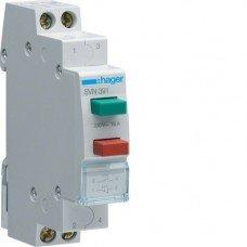 Выключатель двухкнопочный возвратный: кнопка зеленая 1НВ и красная 1НЗ, 230В/16А, 1м Hager