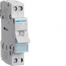 Переключатель I-0-II с общим выходом снизу, 1-полюс, 16А/230В, Hager