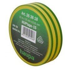 Изолента, 19 мм х 20 м, ПВХ желто-зеленый, HAUPA
