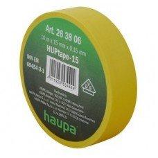 Изолента, 19 мм х 20 м, ПВХ желтый, HAUPA