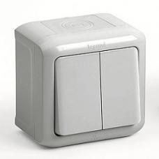 Выключатель 2-клав. IP44 10A, серый Forix
